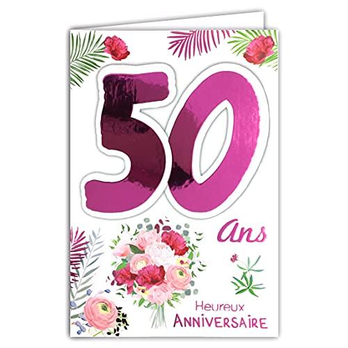 Afie Carte Anniversaire 50 ans Femme - Couleur selon disponibilité (rose fuschia, or. cf photos) - Fleurs - Dorure Fuchsia - Rose