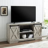 GOOD & GRACIOUS TV Stand, Fits Up to 65' TVs, Farmhouse TV Stand with Sliding Barn Doors and 2-Tier Adjustable Open Storage Shelves Entertainment Center for Living Room, White Wash Grey