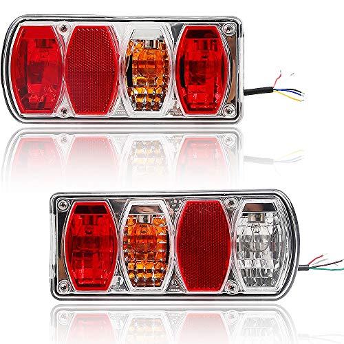 Hawkeye Par Luz trasera del remolque 6 Funciones Bombilla Lámpara Rectángulo para Camioneta (Rojo & Transparente, Rectángulo)