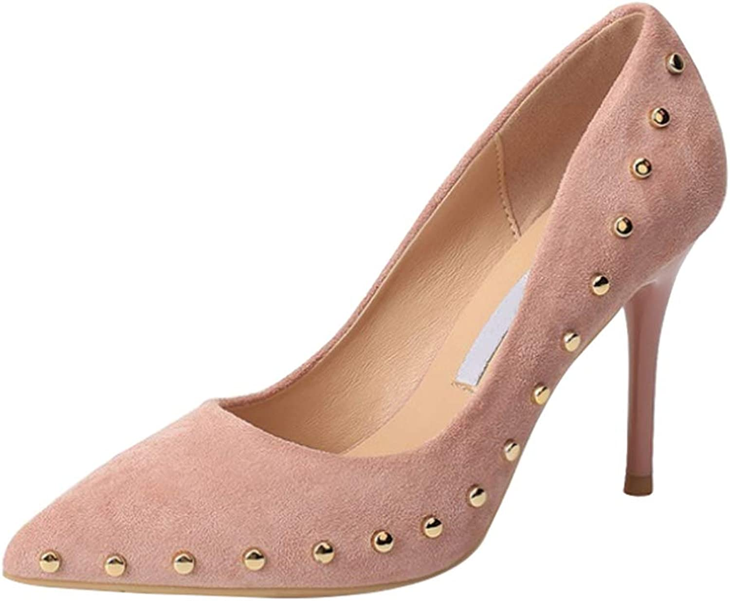 Yudesun Ladies Pointed Court shoes - Women Extreme High Fashion Studded Closed Toe Pumps Slip On Wedding Work Stiletto