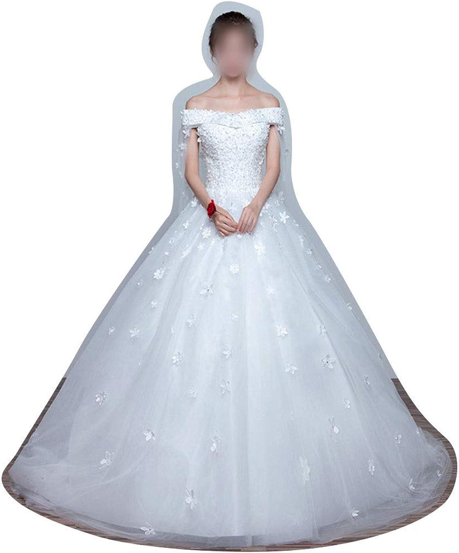 Vfdsvbdv Pregnant Women's Wedding Dresses Bride Princess Simple Female Tail (Design   Flat, Size   L)
