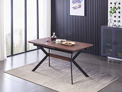 Life Interiors: Blaze Extendable Walnut Dining Table | 4-6 Person | Industrial Style | Dining Room | Modern Dining Table