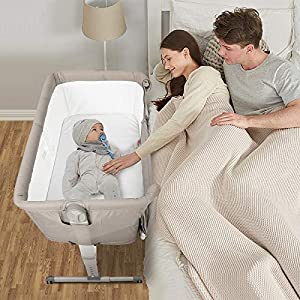 Kidsclub 4 in 1 Baby Bassinet with Wheel, Bedside Sleeper Portable Nursery Crib for Newborn, Rocking Bassinet with Mattress,Sheet, Playpen Play Yard Infant Convertible Bed, Height Adjustable