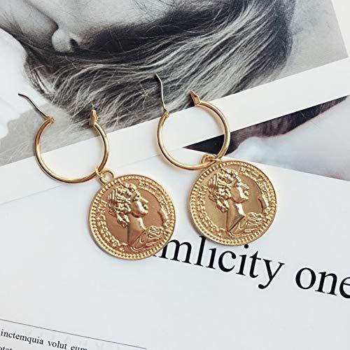 ZHQJY Temperament van het herstellen van oude manieren de munt Type C oorbellen gouden kwast hanger oorbellen modieus ontwerp