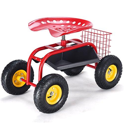 Goplus Garden Cart Rolling Work Seat