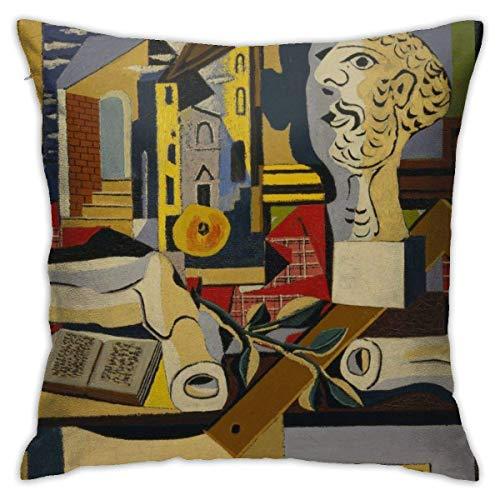 FETEAM Kissenbezüge Dekorativer Überwurf Pablo Picasso Kubismus Weltberühmte Gemälde Kissenbezug Dekor Home Sofa Schlafzimmer Quadratisches Kissen Bedrucktes Auto Bett Couch Wohnzimmer ~ AQ3