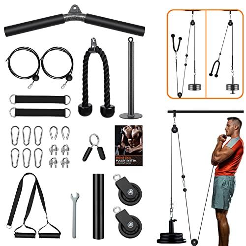 Gonex Poleas Gimnasio para Casa Sistema de Cable de 2 Poleas Mejorado Polea Maquina Musculacion para Tríceps, Curl de Bíceps, Antebrazo, Levantamiento, Jalón Gimnasio en casa Fitness