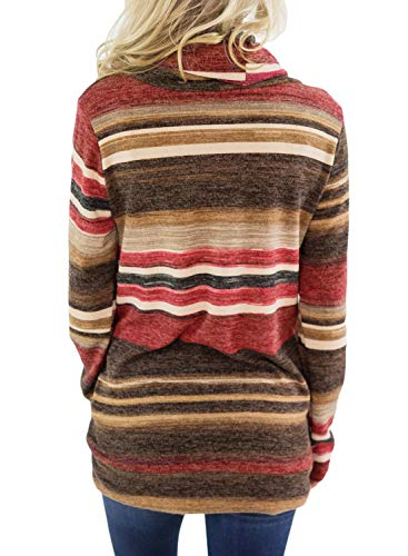 Asvivid Womens Color Block Striped Comfy Tunic Sweatshirt Cowl Neck Fleece Sweater Ladies Soft Junior Hoodies Pullovers L Red