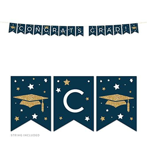 Andaz Press Navy Blue and Gold Glittering Graduation Party Collection, Hanging Pennant Party Banner with String, Congrats Grad!, 5-Feet, 1 Set