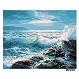 Pintura Digital DIY Azul mar Ola Paisaje Arte de la Pared Pintura Pintura acrílica decoración de la Boda 40X50cm sin Marco