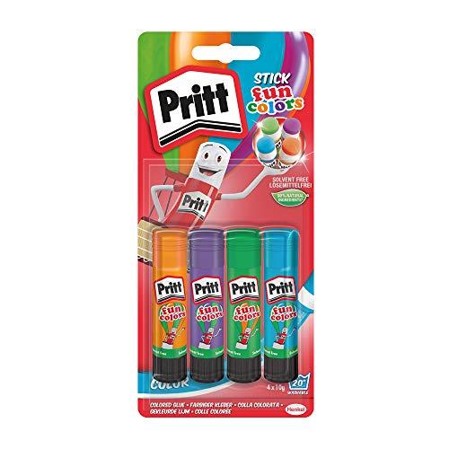 Pritt colle stick Fun Colors, colla colorata per bambini, per lavoretti e fai da te, Colla Pritt multicolore per applicazioni creative a casa e scuola, 4 colori in stick da 10g