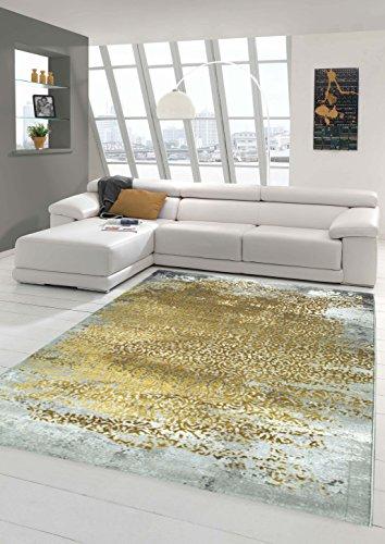 Designer Teppich Moderner Teppich Wollteppich Meliert Wohnzimmer Teppich Wollteppich Ornament Senf...