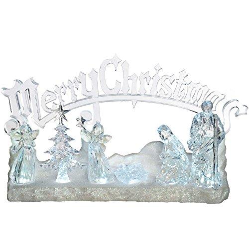 WeRChristmas LED-Dekoration Weihnachtskrippe aus Acryl, beleuchtet, mit Spieluhr und Schriftzug Merry Christmas, 38cm