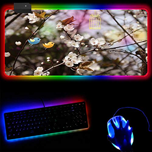 Gaming Mouse Pads RGB Gaming Mousepad Peach Blossom Bird Extended Mouse Pad Non-Slip Rubber Base Pc Gamer Accessories Led Backlit Keyboard Mat-30X90X0.4Cm