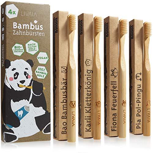 Bambus Zahnbürsten: 4x Bambus Zahnbürste aus reinem Bambus Holz – Vegan, ohne BPA für sanfte Reinigung mit Zahnpasta – Weiche Zahnbürste Holz mit putzigen Tiermotiven auch für Kinder von LIVAIA