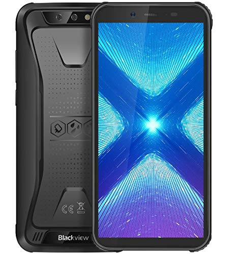 Blackview BV5500 Plus【2020】 4G Outdoor Handy Ohne Vertrag, Android 10 IP68 Robustes Smartphone, 3GB RAM + 32GB ROM, DUAL SIM, 4400-mAh-Akku NFC, Gesichtsentsperrung, GPS WiFi, wasserdichtes Schwarz