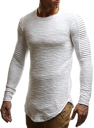 Leif Nelson Herren Pullover Rundhals-Ausschnitt Schwarzer Männer Longsleeve dünner Pulli Sweatshirt Langarmshirt Crew Neck Jungen Hoodie T-Shirt Langarm Oversize LN6326 Ecru Large