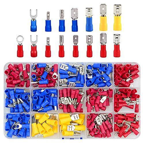 280 Stück Kabelschuhe Quetschverbinder Sortiment, 15 Type Isolierte Elektrische Steckverbinder Crimp Connector Set enthält Ring-Kabelschuhe, Rundstecker, Flachstecker und Gabelkabelschuhe
