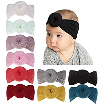 inSowni Newest Super Stretchy Nylon Bow Ball Turban Headbands Hairbands Headwraps for Baby Girls Toddlers Infants Newborns  10PCS S1
