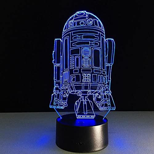 Lámpara de escritorio de acrílico Cool Star Wars R2D2 Robot e aras luminarias para regalos decoración del hogar-7 colores cambiantes