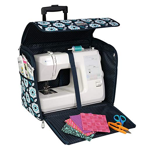 Best Deals! Everything Mary EVM12439-3 Teal Floral Collapsible Rolling Tote Sewing Machine Carrying ...