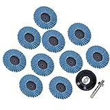 Rueda abrasiva, juego de ruedas de pulido, grano 80, 10 piezas, 50 mm / 2 pulg,...