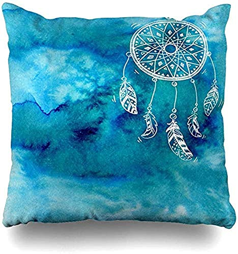 SSHELEY Kussensloop, object, met de hand getekende dreamcatcher vogel op blauw, verschillende schetsen, kussensloop
