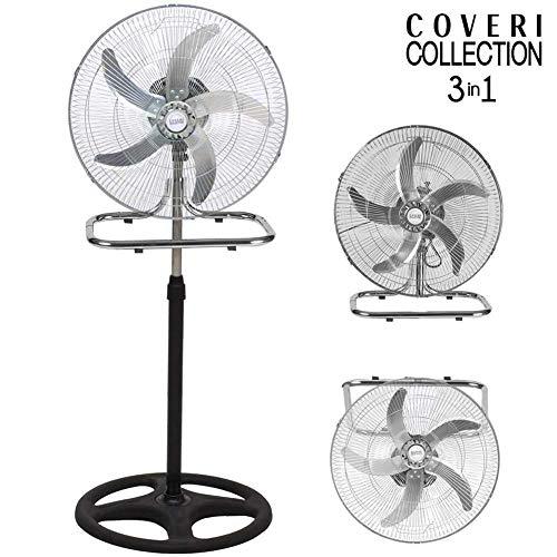 Bakaji Ventilatore 3in1 Piantana Da tavolo Parete in Metallo e Plastica 3 Velocita Regolabili Funzione Oscillazione Potenza 50W Diametro Pale 50cm Altezza Regolabile Max