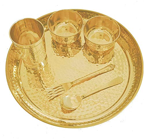 M&V CRAFT PURE Brass Hammered Dinner THALI Set (Pure Brass & Set of -6)