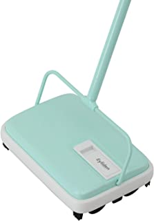 Ey.liden Carpet and Floor Manual Sweeper for Home Carpet and Pet Hair Cleaning Mint and White