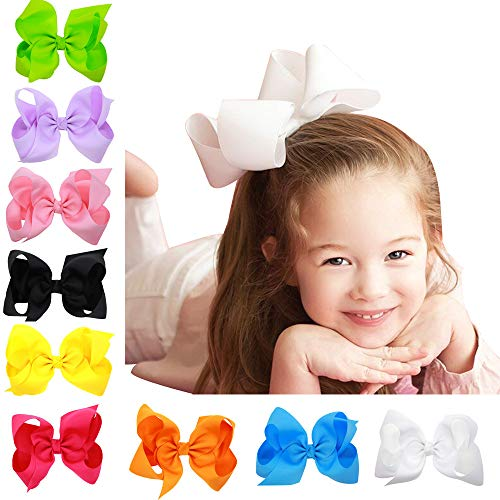 16pcs 6 Inch Large Big Bows, Boutique Grosgrain Ribbon Girls Hairpin,Children's Hairpin Bows Holiday Hair Accessories