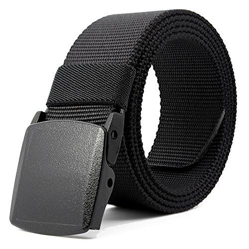 Kusun Cintura In Nylon Traspirante Maschile Nastro Impermeabile Sport All'aria Aperta Stile Militare Webbing Regolabile YKK Fibbia 53,1' (Nero 01-53'(135cm))
