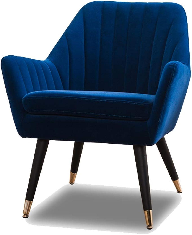 SCM Single Lazy Sofa Modern Light Luxury Balcony Living Room Office Leisure Seat Multicolor 65×65cm (color   blueee)