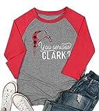 MYHALF You Serious Clark Raglan Sleeve T Shirt for Women Buffalo Plaid Christmas Hat Cute Graphic Print Baseball Tees Top Gray