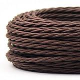 Cavo Elettrico Treccia/Trecciato Rivestito in Tessuto. Colore Marrone. Sezione 3x0.75. 10 Metri