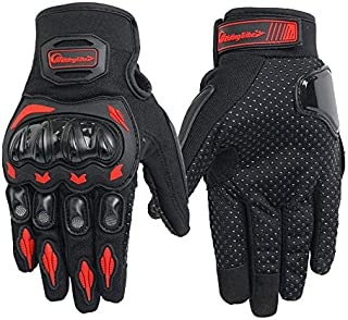 Alician Unisex Motorcycle Gloves Summer Breathable Moto Riding Protective Gear Non-Slip Touch Screen Guantes Red 2XL