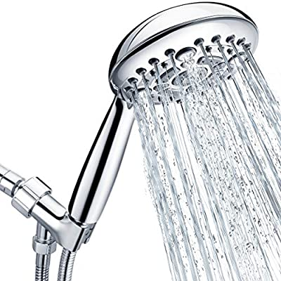 Shower Heads with Handheld Spray High Pressure Handheld Shower Head with 2.45 Meter/96 Inch/ 8 FT Long Shower Hose, Shower Bracket with Brass Ball Joint and Shower Arm with Flange, Chrome