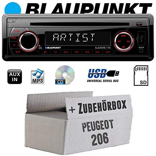 Peugeot 206 - Autoradio Radio Blaupunkt Alicante 170 - CD/MP3/USB - Einbauzubehör - Einbauset