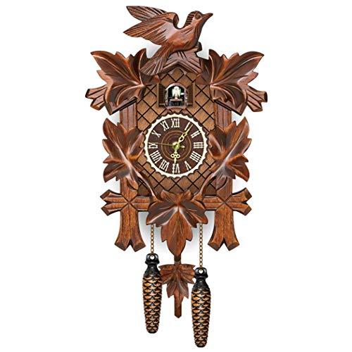 COSYOO Orologio da parete vintage da appendere alla parete in legno, elegante orologio a cucù con foresta uccello voci, decorazione da parete vintage