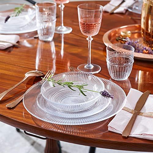 Louison Clear Opal Glass Dinner Set Dinnerware Tableware Plates Microwave Safe Dishwasher Safe Dining Modern (18pc Dinner Set)