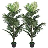 Ruopei Set of 2 Artificial Palm Tree in Plastic Pot, Potted Fake Greenery Decoration with Bendable Branches for Home, Restaurant, Cafe or Office Decorating