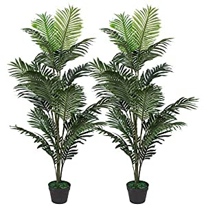 Silk Flower Arrangements Set of 2 Artificial Palm Tree in Plastic Pot, Potted Fake Greenery Decoration with Bendable Branches for Home, Restaurant, Cafe or Office Decorating