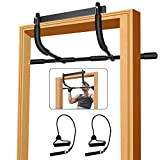 Pull up bar for Doorway,Heavy Duty Door Pull Up Bar Upper Body Equipment Workout Bar Chin Up Bar Iron Gym Pull Up Bar Exercise Bar No Screws with Bonus String for Men (Black)