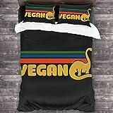 N \ A Juego de cama de 3 piezas retro vegano Dino de 86 x 70 pulgadas de poliéster súper suave para dormitorios