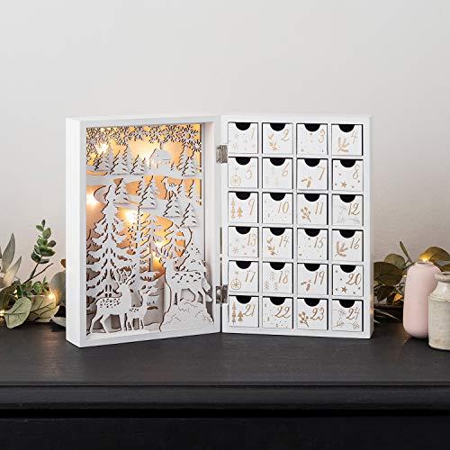 Lights4fun - Calendario de Adviento de Madera Bianca con Escena Navideña y LED Blanco Cálido a Pilas con 24 Cajones