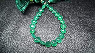"""Jewel Beads Natural Beautiful jewellery 2 x 8"""" Superfinest Emerald Green 8 Inch,Superb-Finest Quality, AAA Green Onyx Faceted Heart Briolettes 9-10mmCode:- JBB-34766"""