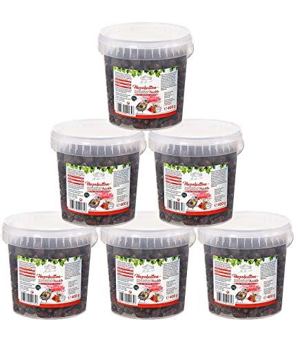 Dehner Premium Natura Wildvogelfutter, Hagebuttenfrüchte, 6 x 400 g (2.4 kg)
