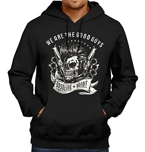 Gasoline Bandit Original Biker Rockabilly Hoodie Kapuzen-Pullover: We Are The Good Guys -L