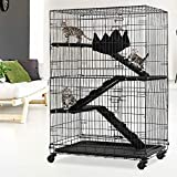 3-Tier Cat Cage Cat Crate Kennels Pet Playpen Large 48' Height Kitten House Furniture with Wheels Wire Metal Pet Enclosure w/2 Front Doors 2 Ramp Ladders 2 Platforms Bed Hammock Cat Condo for Kitty