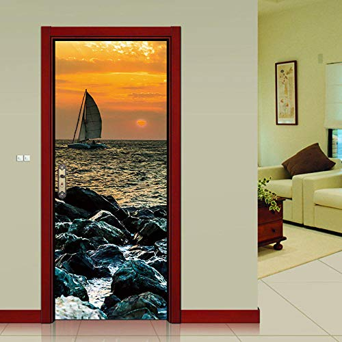 Gufan Yuanying Türaufkleber 3D PVC Selbstklebende Tapete DIY Home Decoration Simulation Poster Wandaufkleber 77 * 200Cm